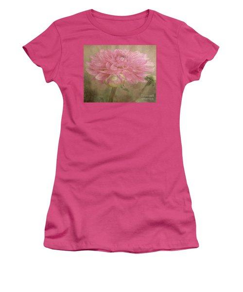 Soft Graceful Pink Painted Dahlia Women's T-Shirt (Junior Cut) by Judy Palkimas