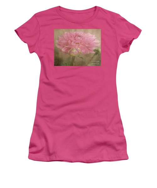 Soft Graceful Pink Painted Dahlia Women's T-Shirt (Athletic Fit)