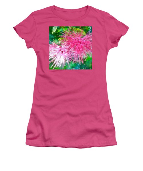 Women's T-Shirt (Athletic Fit) featuring the painting Soft Pink Flower by Joan Reese