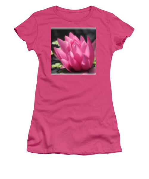 Women's T-Shirt (Junior Cut) featuring the photograph Soft Touch Red Lotus by Debra     Vatalaro