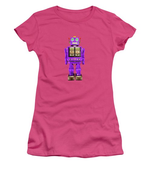 Women's T-Shirt (Junior Cut) featuring the photograph Star Strider Robot Purple On Black by YoPedro