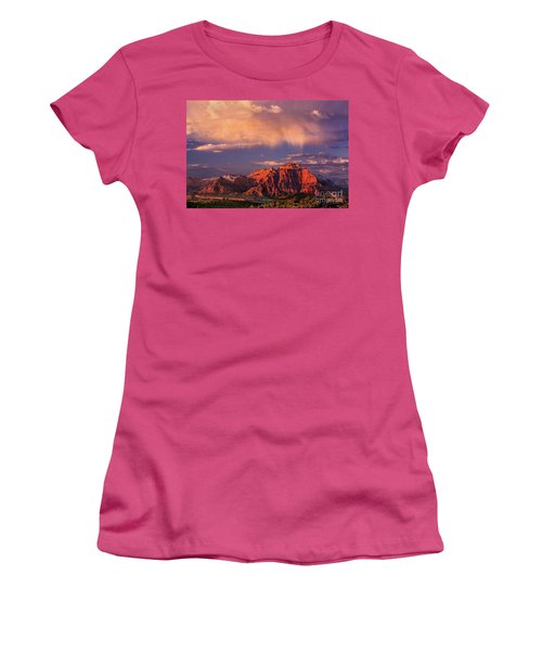 Sunset On West Temple Zion National Park Women's T-Shirt (Junior Cut) by Dave Welling