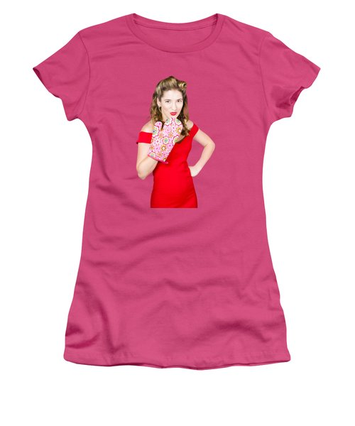 Surprise Cooking Pinup Woman With Cook Mitt Women's T-Shirt (Athletic Fit)