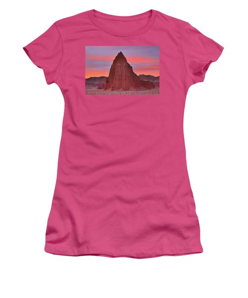 Temple Of The Sun And Moon At Sunrise At Capitol Reef National Park Women's T-Shirt (Athletic Fit)