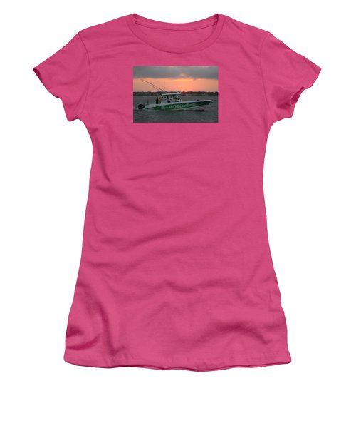 Women's T-Shirt (Junior Cut) featuring the photograph The Greene Turtle Power Boat by Robert Banach