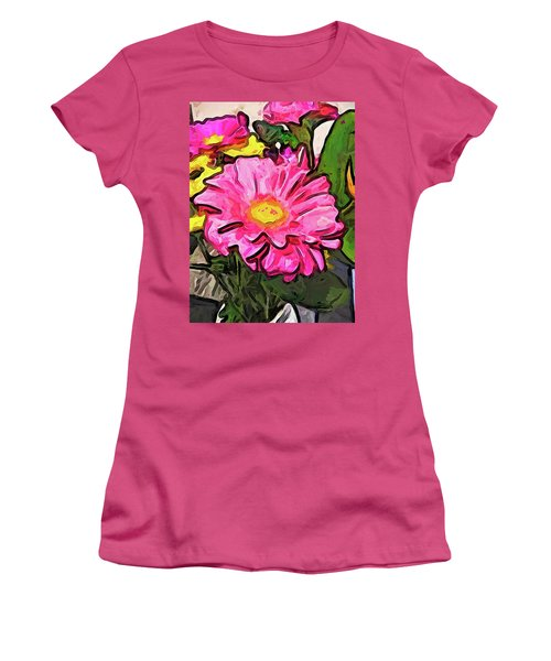 The Pink And Yellow Flowers With The Big Green Leaves Women's T-Shirt (Athletic Fit)