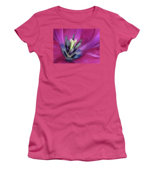 Women's T-Shirt (Junior Cut) featuring the photograph Tulip Intimacy by David and Carol Kelly