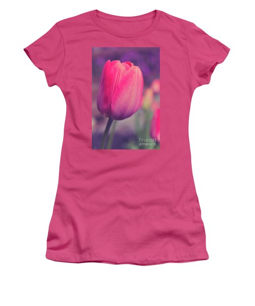 Women's T-Shirt (Athletic Fit) featuring the photograph Vintage Red Tulip Flower by Edward Fielding