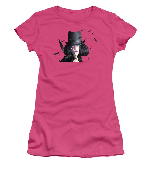 Vogue Woman In Black Costume Women's T-Shirt (Junior Cut) by Jorgo Photography - Wall Art Gallery