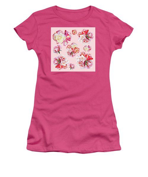 Women's T-Shirt (Athletic Fit) featuring the painting Watercolor Roses Pink Dance by Irina Sztukowski