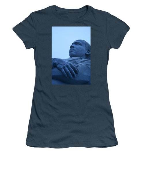 Women's T-Shirt (Junior Cut) featuring the photograph A Blue Martin Luther King - 1 by Cora Wandel