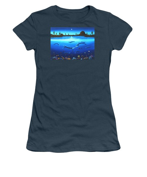 Women's T-Shirt (Junior Cut) featuring the painting Desert Dolphins by Lance Headlee
