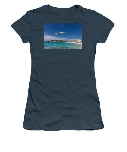 American Airlines At St Maarten Women's T-Shirt (Junior Cut) by David Gleeson