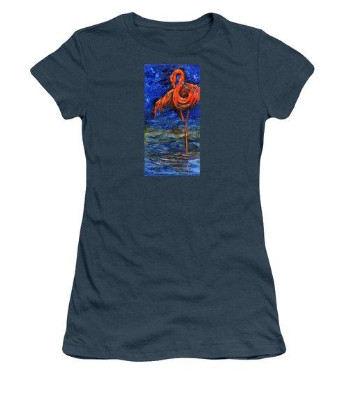 Women's T-Shirt (Junior Cut) featuring the painting Flamingo by Xueling Zou