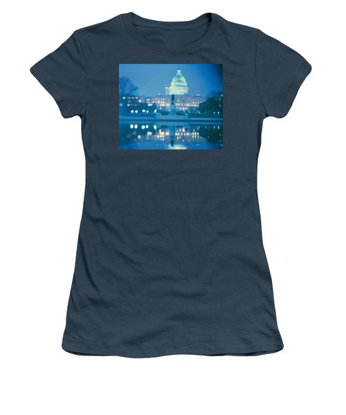 Government Building Lit Up At Night Women's T-Shirt (Junior Cut) by Panoramic Images