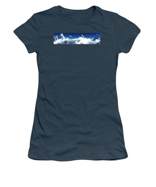 Women's T-Shirt (Junior Cut) featuring the digital art Above The Clouds... by Tim Fillingim