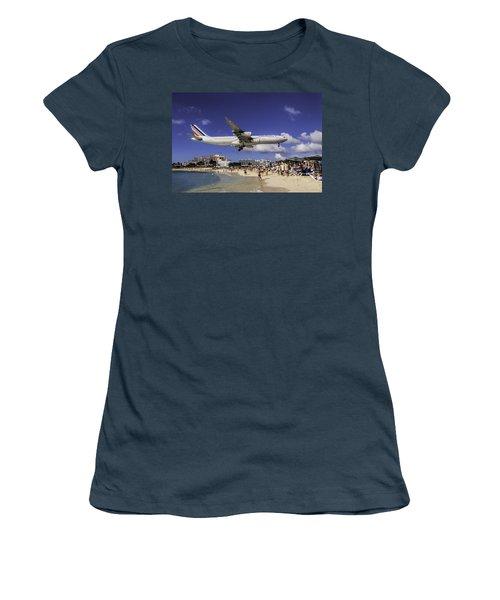 Air France St. Maarten Landing Women's T-Shirt (Junior Cut) by David Gleeson