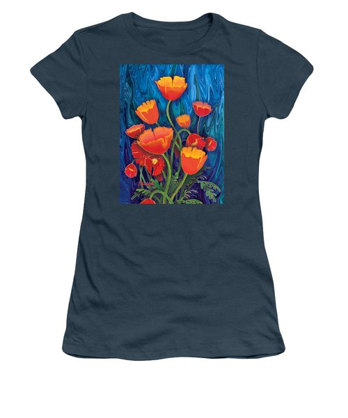 Women's T-Shirt (Junior Cut) featuring the mixed media Alaska Poppies by Teresa Ascone