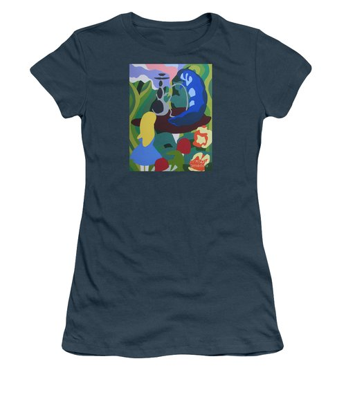 Women's T-Shirt (Junior Cut) featuring the painting Alice And The Blue Caterpillar by Meagan  Visser