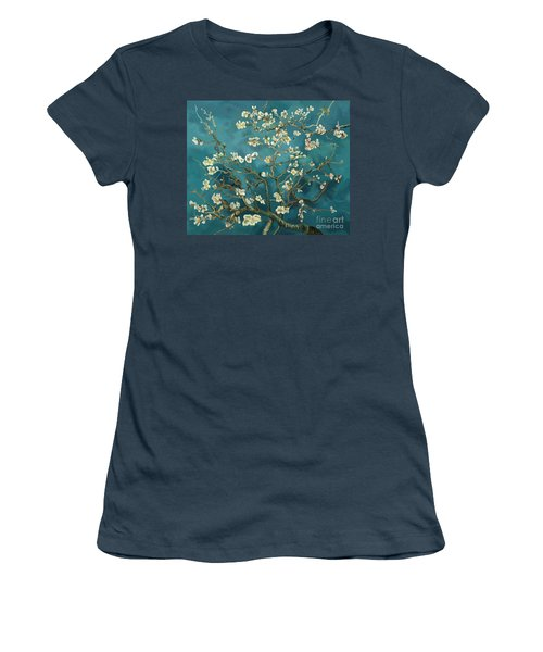 Women's T-Shirt (Junior Cut) featuring the painting Almond Blossoms' Reproduction by Tim Gilliland