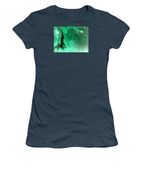 Women's T-Shirt (Junior Cut) featuring the mixed media Aqua Tree by Salman Ravish