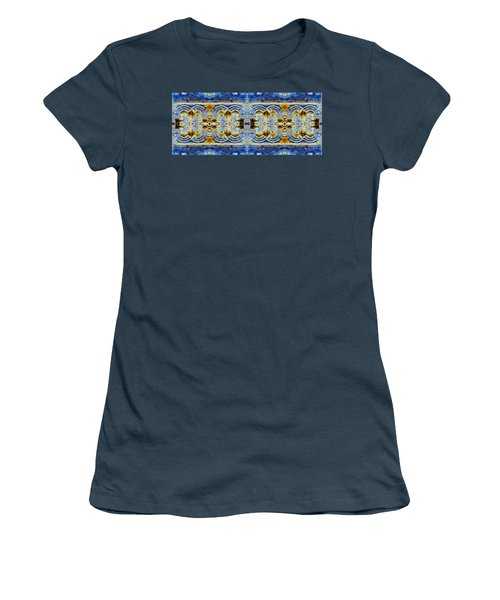 Women's T-Shirt (Junior Cut) featuring the digital art Arches In Blue And Gold by Stephanie Grant
