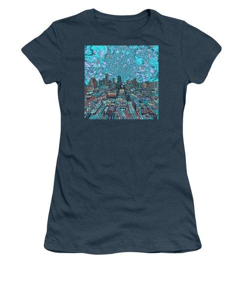 Austin Texas Vintage Panorama 4 Women's T-Shirt (Junior Cut) by Bekim Art