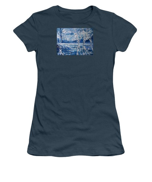 Birches In Blue Women's T-Shirt (Junior Cut) by Ellen Levinson
