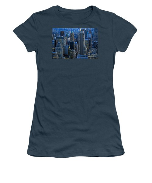 Blue Hour In New York City Usa Women's T-Shirt (Junior Cut) by Sabine Jacobs