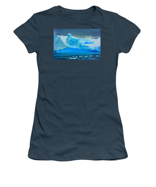 Women's T-Shirt (Junior Cut) featuring the photograph Blue Icebergs by Amanda Stadther