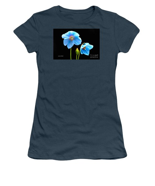 Blue Poppy Flowers # 4 Women's T-Shirt (Junior Cut) by Jeannie Rhode