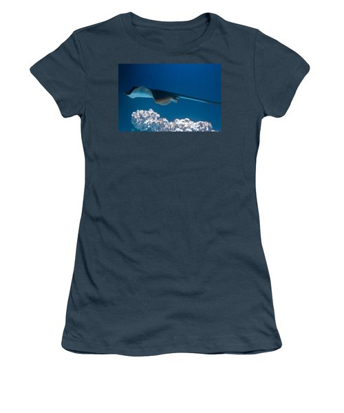 Women's T-Shirt (Junior Cut) featuring the photograph Blue Spotted Fantail Ray by Eti Reid