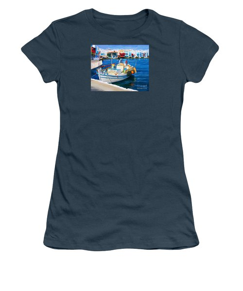 Boat In Greece Women's T-Shirt (Junior Cut) by Tim Gilliland