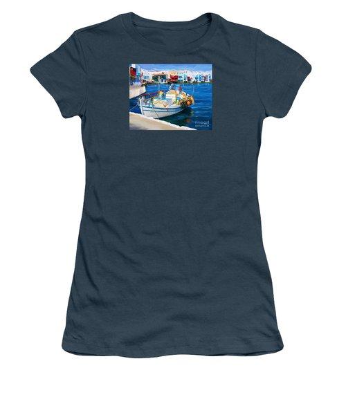Boat In Greece Women's T-Shirt (Junior Cut)