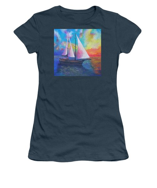 Women's T-Shirt (Junior Cut) featuring the painting Bodrum Gulet Cruise by Tracey Harrington-Simpson