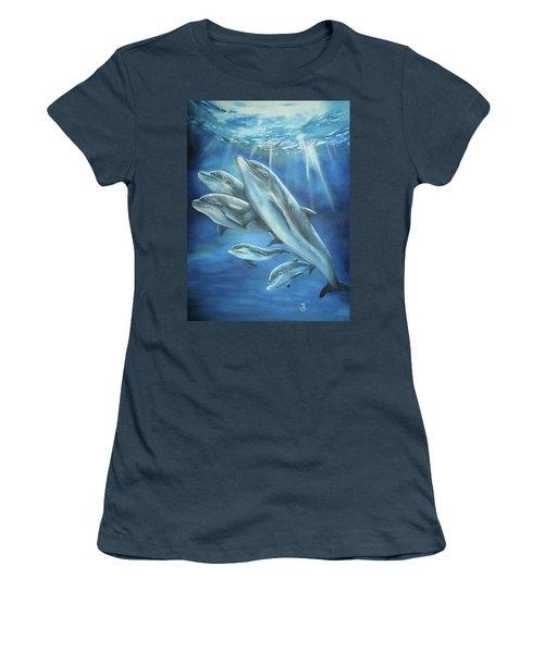 Bottlenose Dolphins Women's T-Shirt (Junior Cut) by Thomas J Herring