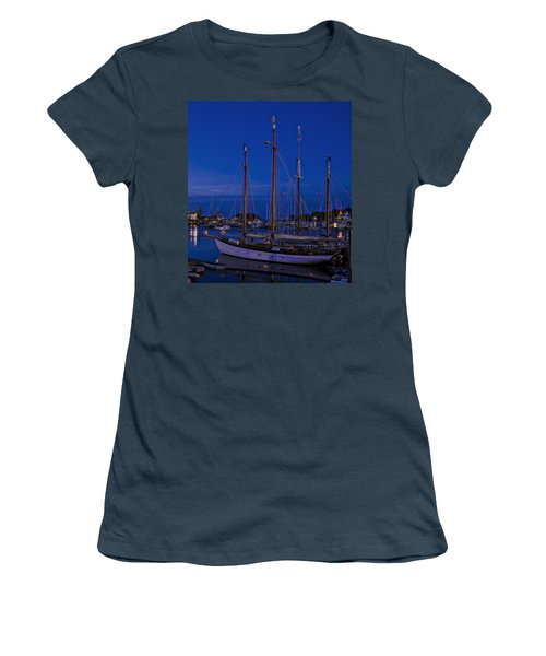 Women's T-Shirt (Junior Cut) featuring the photograph Camden Harbor Maine At 4am by Marty Saccone