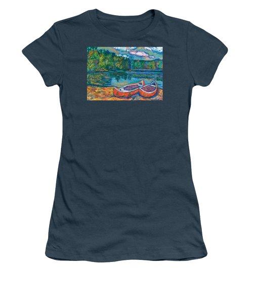 Canoes At Mountain Lake Sketch Women's T-Shirt (Junior Cut) by Kendall Kessler