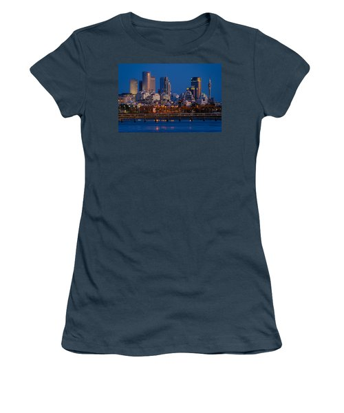 city lights and blue hour at Tel Aviv Women's T-Shirt (Junior Cut) by Ron Shoshani