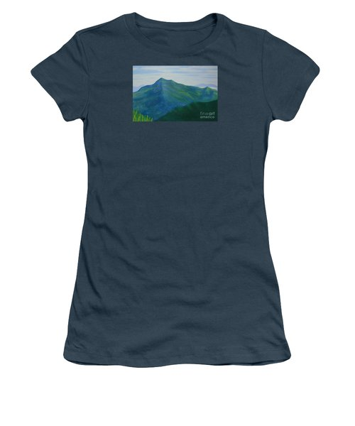 Women's T-Shirt (Junior Cut) featuring the painting Cold Mountain by Stacy C Bottoms