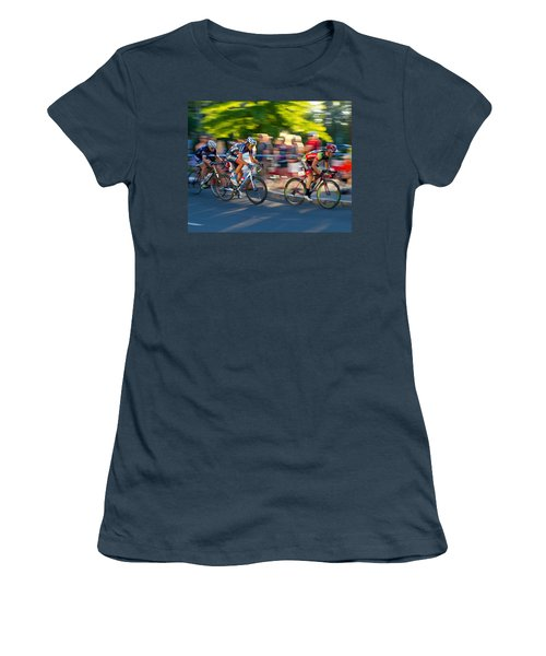 Women's T-Shirt (Junior Cut) featuring the photograph Cycling Pursuit by Kevin Desrosiers