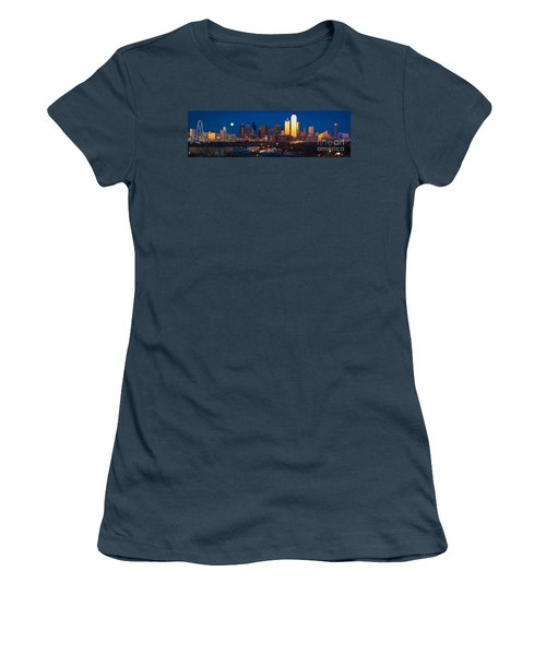 Dallas Skyline Panorama Women's T-Shirt (Junior Cut) by Inge Johnsson
