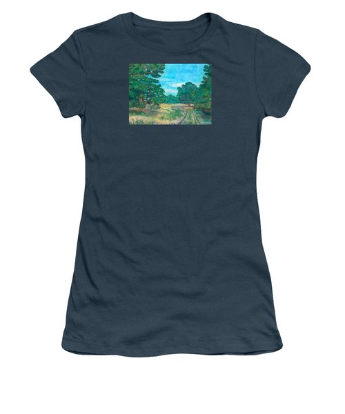 Women's T-Shirt (Junior Cut) featuring the painting Dirt Road Near Rock Castle Gorge by Kendall Kessler