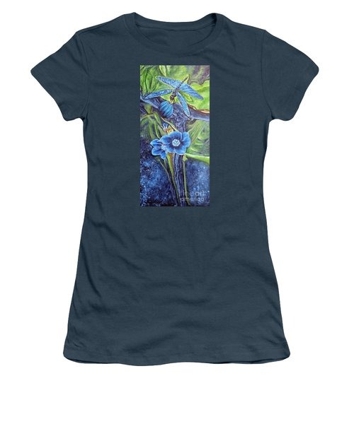 Women's T-Shirt (Junior Cut) featuring the painting Dragonfly Hunt For Food In The Flowerhead by Kimberlee Baxter