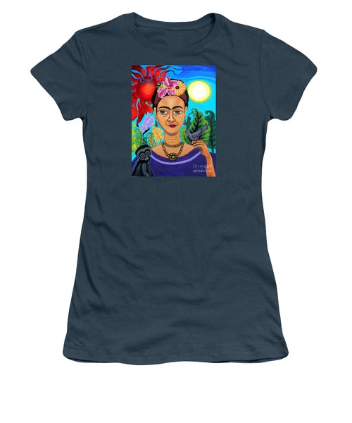 Frida Kahlo With Monkey And Bird Women's T-Shirt (Junior Cut) by Genevieve Esson