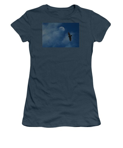 Hawk And Moon Coming Out Of The Mist Women's T-Shirt (Junior Cut) by Raymond Salani III