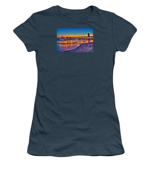 Huntington Beach Pier Sundown Women's T-Shirt (Junior Cut) by Jim Carrell