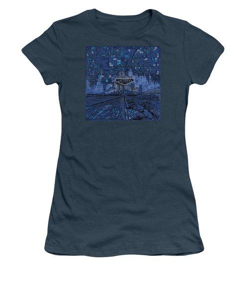 Las Vegas Skyline Women's T-Shirt (Junior Cut) by Bekim Art