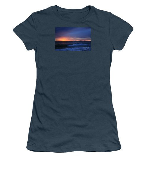 Last Ray Of Sunlight At Pt Mugu With Wave Women's T-Shirt (Junior Cut) by Ian Donley