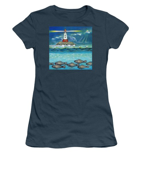 Lighthouse Fish 030414 Women's T-Shirt (Junior Cut) by Selena Boron
